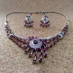 92.5% Silver CZ Diamonds White Rhodium Necklace