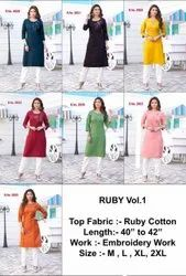 Seven Casual Wear FAB Ruby Cotton, Size: XXL, Wash Care: Dry Clean