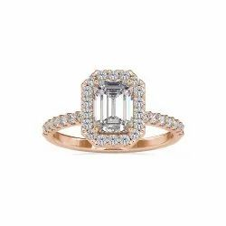 White Yellow Rose Gold Emerald Cut Full White Moissanite Halo Ring With Accents For Engagement
