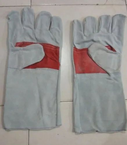 "Safety Gloves Leather Hand Glove 14"", For Industrial, Size: Medium"