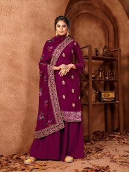 Pr Fashion  Designer Straight Suit In All Over Purple Color. Its Embroidered Top And Dupatta