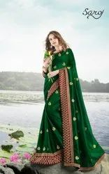 Green Party Wear Designer Vichitra Silk Saree