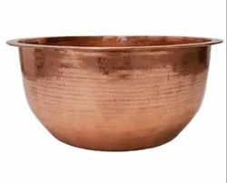 Hammered Round Copper Pedicure Bowl, For Spa, Size: 18 X 7 Inch