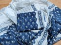 White And Blue Unstitched Cotton Women Suits