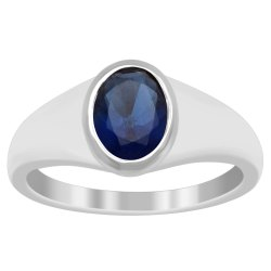 Stackable Flawless Blue Cubic Zircon 925 Sterling Silver Solitaire Ethnic Ring