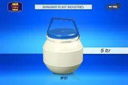 Bhagwati Plast White Plastic Dahi Matka, Capacity: 5 L