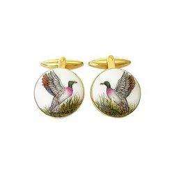 Exotic Birds Golden 92.5 Sterling Silver Unisex Cufflinks