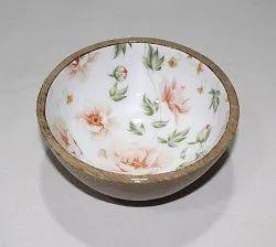 DCI圆形芒果木材服务碗,套装含有:1件,尺寸:6x6x3英寸