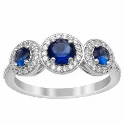 1.28 Ctw Blue Sapphire Gemstone 925 Sterling Silver Women Cluster Ring