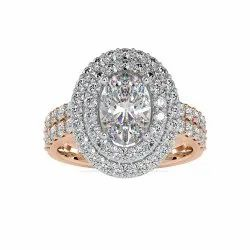 Best Quality Oval Cut Full White Moissanite Halo Ring White,Yellow,Rose Gold For Engagement