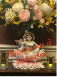 18 Inch Marble Krishna Sitting Statue