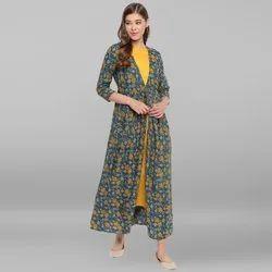 Janasya Women's Green Rayon Ethnic Dress(J0057)