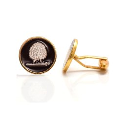 Mayo College Silver Plated Mayoor Cufflinks With Black Enamel(Flat Base)