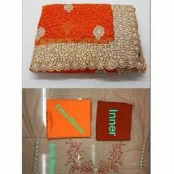 Party Wear Embroidered Stylish Banglori Silk Saree, 5.5 m (separate blouse piece)
