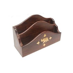 Standard Brown Wooden Letter Rack 2 Shelf Brass Elephant Design 8x5 Inch