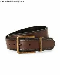 Brown Plain Genuine Leather Belt Men With Pin Buckle
