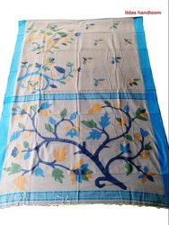 Casual Wear Woven Mercerized Cotton Saree, With Blouse, 6.25 Meter