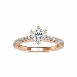 White,Yellow,Rose Gold Round Cut Full White Moissanite Ring For Engagement,