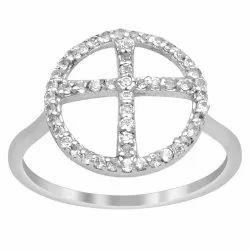Cross 'X' Design 925 Sterling Silver 0.52 Ctw White Cubic Zirconia Women Ring