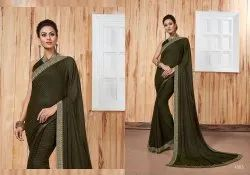 Fancy Party Wear Georgette Satin Patti Saree