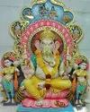 18 Inch Painted  Marble Ganesh Statue
