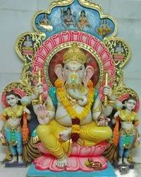Painted  Marble Ganesh Statue