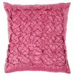 Designer Peachy Pink Satin Square Cushion Cover