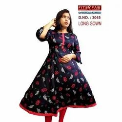 Women Printed 3045 Cotton Long Gown