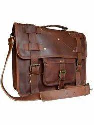 Men Solid Handcrafted Leather Bag In Vintage Tan Brown
