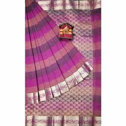 Zari Border Jacquard Weave Party Wear Silk Cotton Sarees, With Blouse, 6.2 M