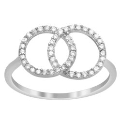 Dainty White Cubic Zirconia 925 Sterling Silver Dual Circle Bridesmaid Gift Ring