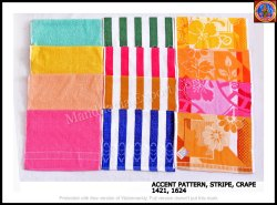 3 Variety Multicolor 1421/ 1624 Accent Pattern, Stripe, Crape, Size: 14*21 Inches,16*24 Inches