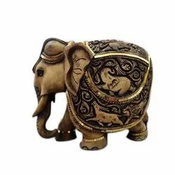 Wood Color Polyresin Elephant Statue, For Interior Decor