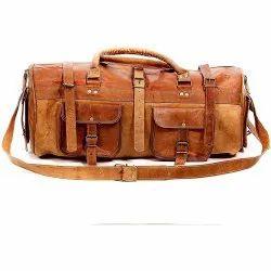 Plain Russet Brown Leather Duffle Bag