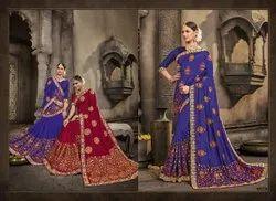 Designer Blue Color Embroidery Saree