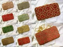 Multicolor Raw Silk Heart Embroidery Ethnic Box Clutch, Size: 20*5*13