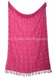 Fuchsia Cotton Throw Blanket Handloom Tassel Bed Linen Mud Cloth Home Decorative Throw