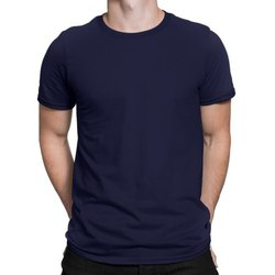 Poly Cotton Half Sleeve Mens Plain Round Neck T Shirt, Size: Small - Extra Large