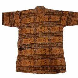 Casual Printed Men Cotton Kurta, Band Collar