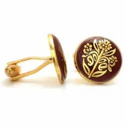 Hand Painted Golden Motif On Brown Cufflinks In Sterling Silver