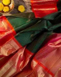 VIRANI FASHION Kancheepuram Silk South Indian Saree, With Blouse Piece, 5.5 m (separate blouse piece)