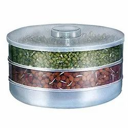 Plastic Sprout Maker with 3 Compartments, 3 Cups(Transparent)