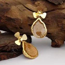 Gold Plated Flower Design Shining Gemstone Earring