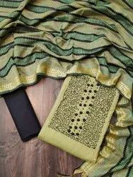Unstitched Cotton Latest Fancy Handwork Dress Material, Size: Free