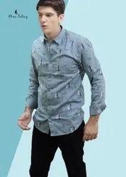 Blue Tatooz Cotton Mens Collar Neck Printed Shirt