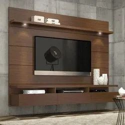Brown Wall Mounted Wooden TV Cabinet