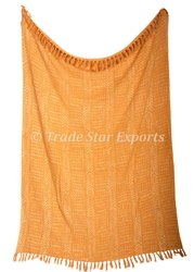 Handloom Throw Blanket With Tassel Indin Handmade Throw 100% Cotton Throw