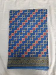 Multicolor Printed Cotton Saree With Blouse With Various Designs