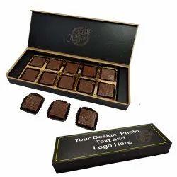 Fabbites Rectangular 10 Chocolate Cavities Wooden Chocolate Gift Box