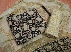 Black And Golden Cotton Women Suits